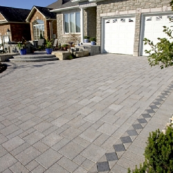 Decorative block driveway and garage