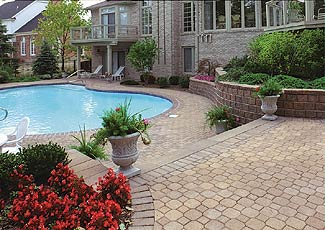 Brick patio and pool surround